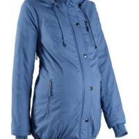 Women jacket Maternity jacket with hood and ribbed cuffs Parka blue winter clothing
